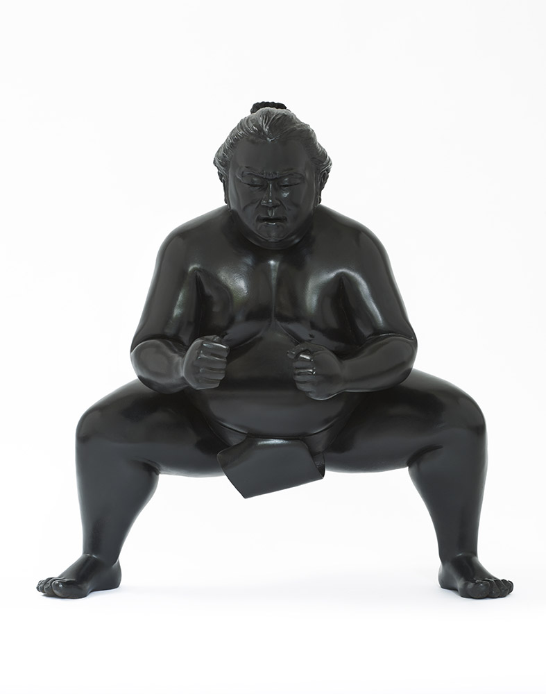 Bronze sumo sculpture for inside or outside by Alexandra Gestin for sale price on request
