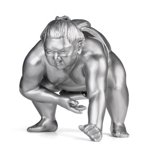 Bronze sumo sculpture for inside by artist Alexandra Gestin for sale price on request