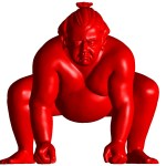 Resin red sumo sculpture for inside or outside by artist Alexandra Gestin price on request