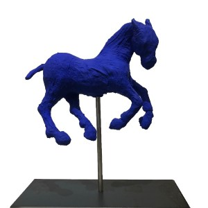 saone de stalh sculpture blue horse unique
