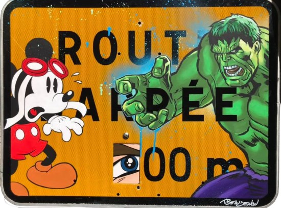 Range-of-Arts-Painting-Acrylic-on-roadsign-Thierry-Beaudenon-Hulk-Mickey