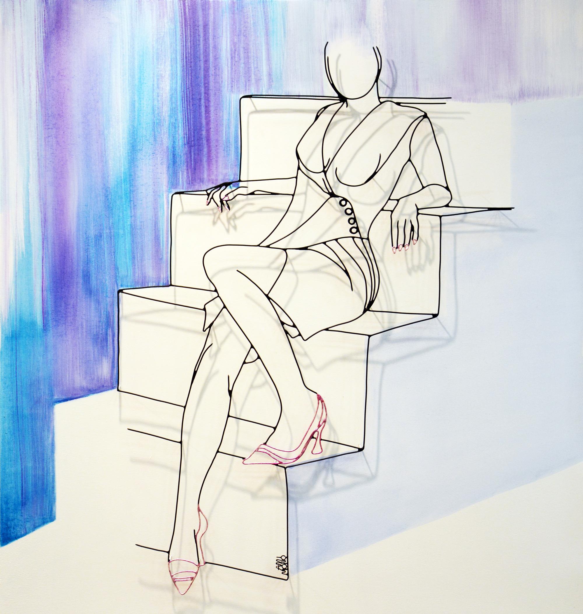 L'escalier wire sculpture by French artist Amimono available at Range of Arts Gallery Honfleur
