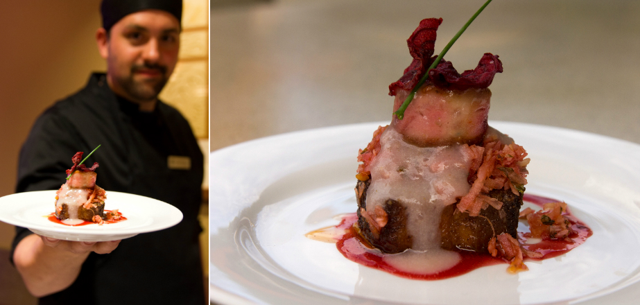 Brentwood College Chef Morgan Milward presents his purple canape at Colour Your Palate.