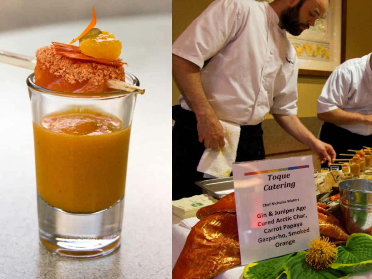 Chef Nick Waters of Toque Catering presents his orange canape to guests at Colour Your Palate.