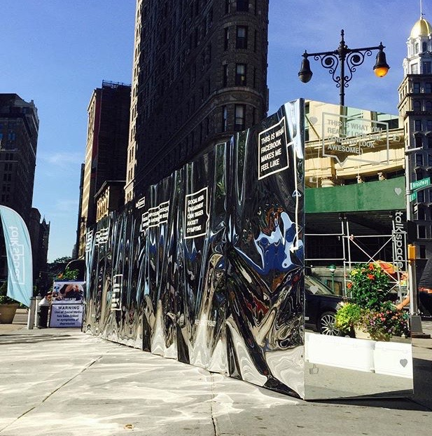 Funhouse Mirror Wall in the middle of Manhattan