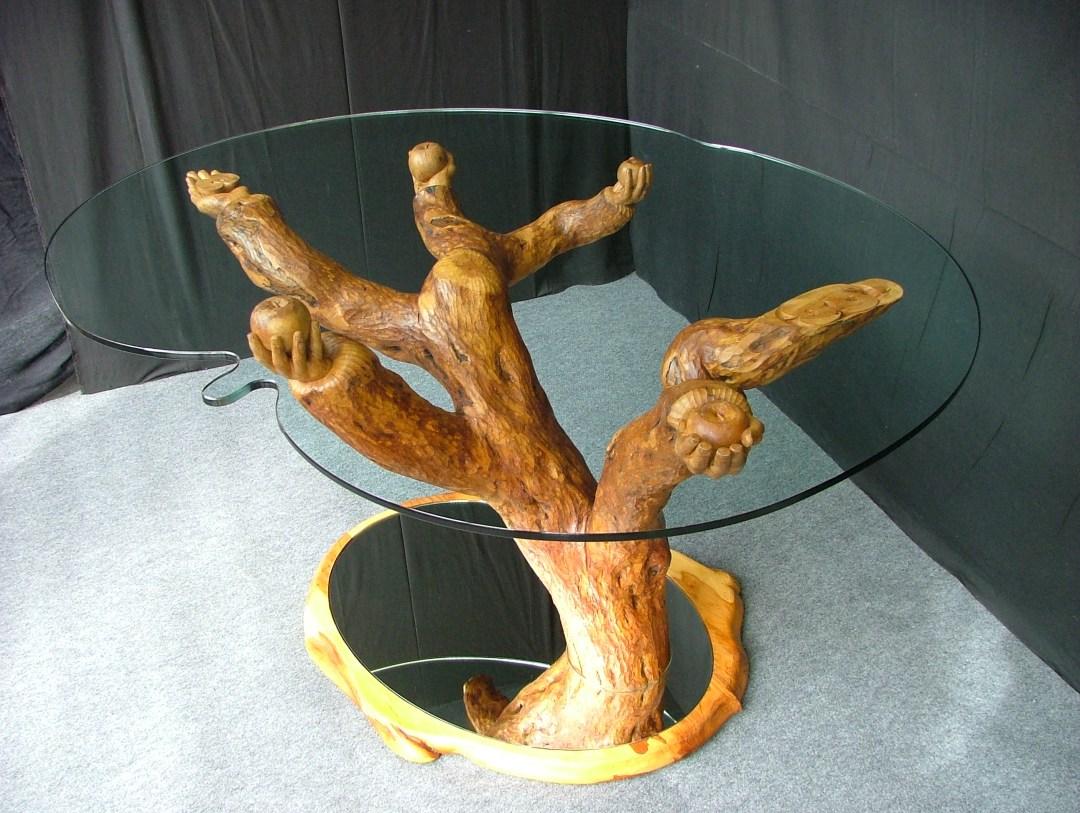 Galerie sculptures contemporaines - Table Bois et verre