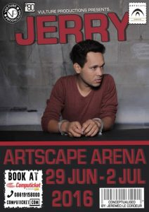 "Vulture Productions presents ""Jerry"" - A solo-play conceptualized by Jeremeo Le Cordeur at The Artscape Arena from 29 June to 2 July 2016."