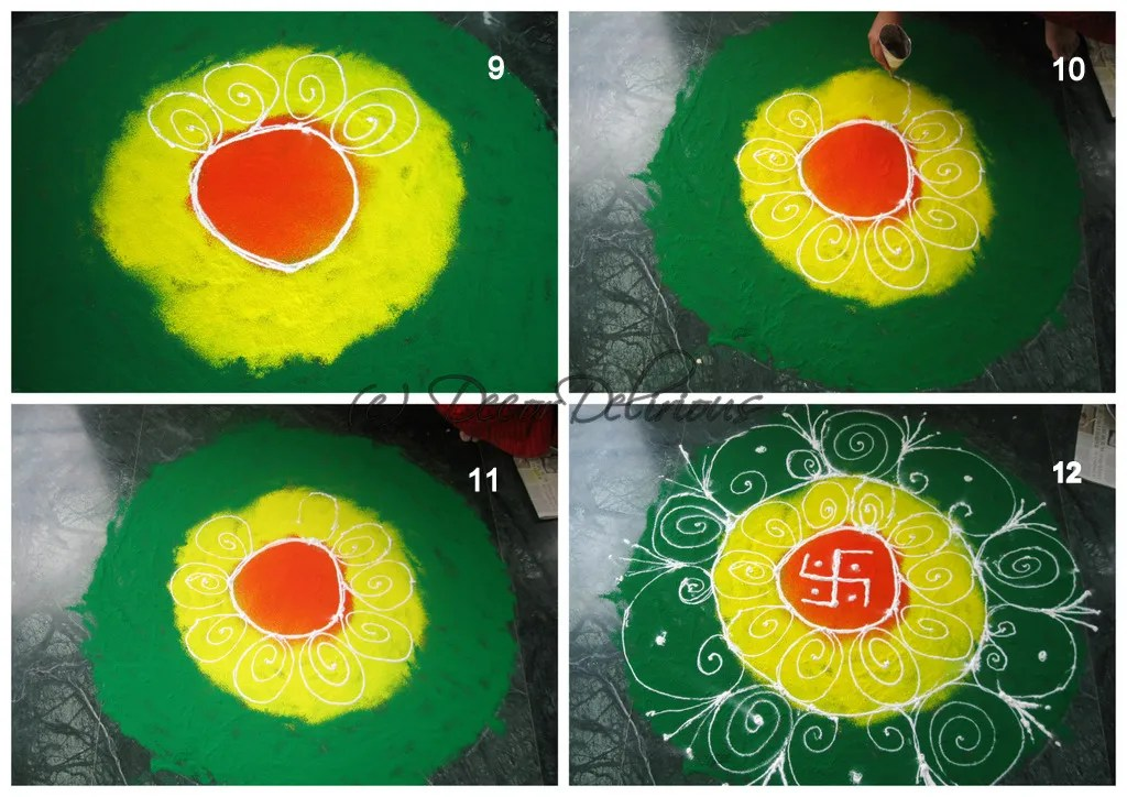Easy rangoli step by step
