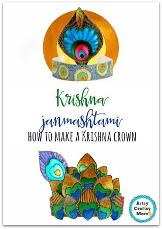Krishna Peacock Crown - Krishna Janmashtami - how to make a Krishna crown- cardboard, some imagination and lots of colors