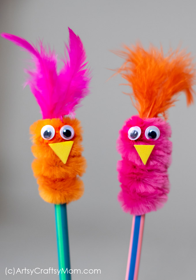 Add spunk, colour and loads of cuteness to your kids' pencils. This pipe cleaner pencil topper bird craft is an absolutely adorable accessory.