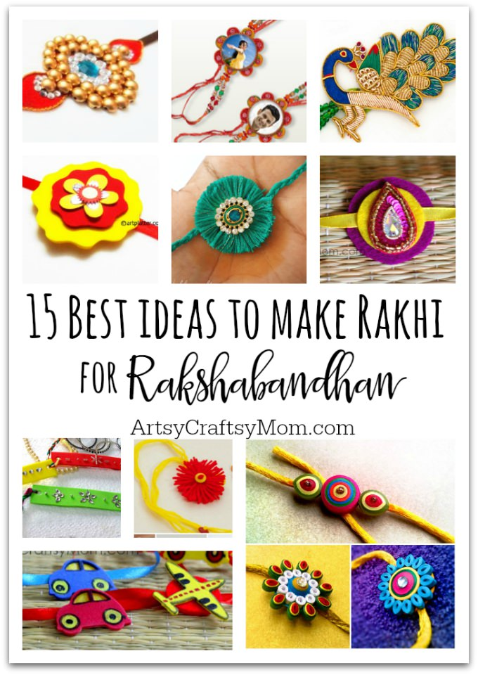 15 best ideas to make rakhi at home for rakshabandhan for West materials crafts in hindi