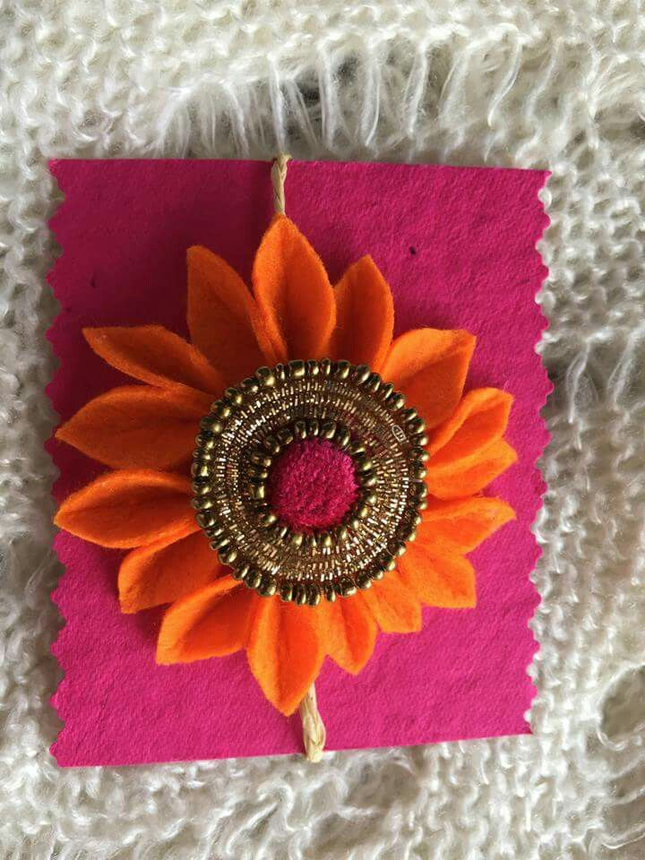 felt flower rakhi - We have 15 best ideas to make Rakhi at home for Rakshabandhan - Perfect rakhi ideas for kids to make, rakhi competition, best of waste, simple and handmade with detailed step by step images- ArtsyCraftsyMom