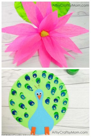 India Independence Day Special Crafts – Paper Peacock and Crepe Paper Lotus