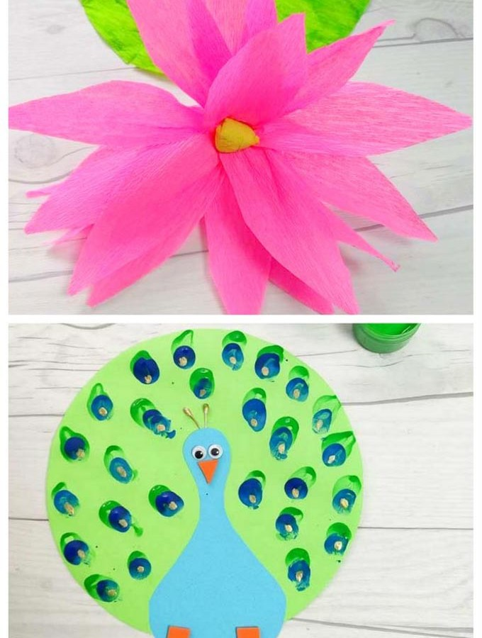 India Independence Day Special Crafts - Learn to make an adorable Paper Peacock and Crepe Paper Lotus - The National Bird and flower of India with Kids.