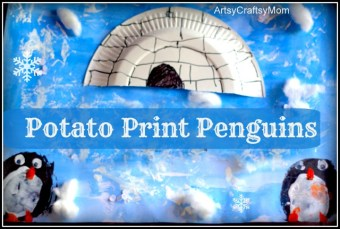 Antartic study Potato Print Penguin Igloo Art