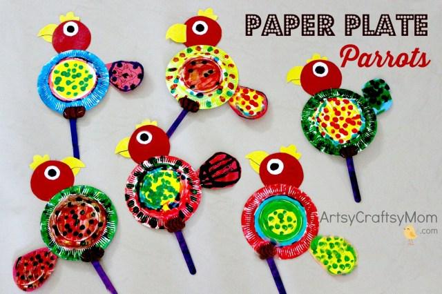 Paper Plate Parrot Craft Artsy Craftsy Mom