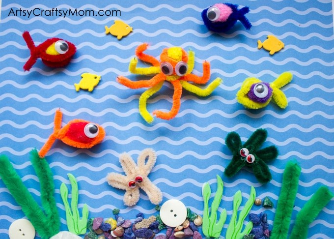 Pipe Cleaner Fishing Game - star fishes, octopus, puffy fishes all galore . Have fun making them & then catching them with magnets