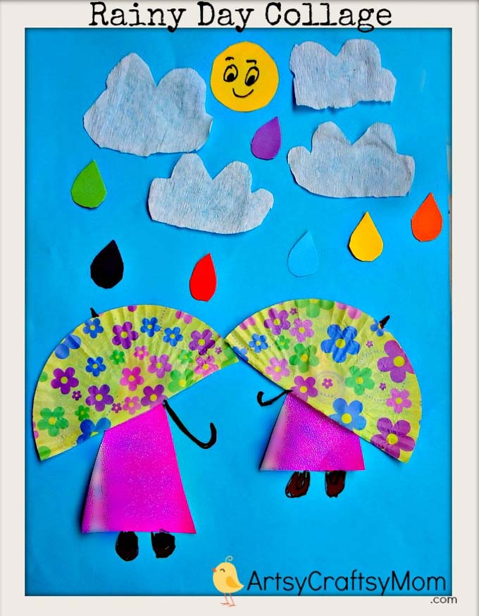 When it's pouring outside, make playing inside fun with our Rainy Day Paper Collage Art for Kids. Perfect for improving scissor cutting fine motor skills.