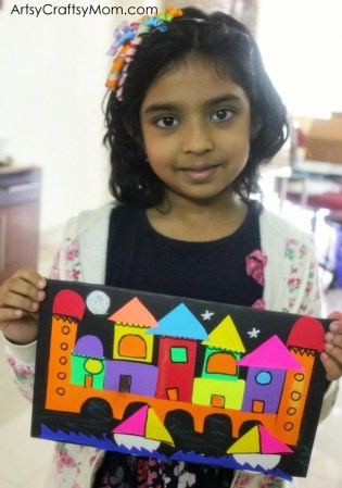 A City by the River- Easy Paper Collage Idea for Kids. Learn shapes, Square, rectangle, semi-circle, and Triangles with a Cut paper collage 2-D shape unit #papercraft #collage
