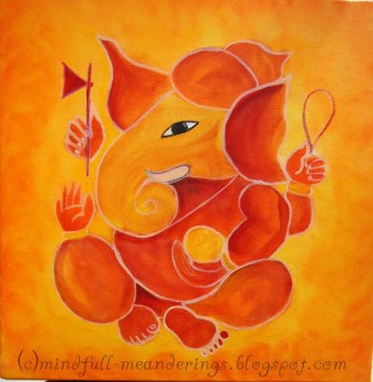 acrylic on canvas ganesha 12x12 art