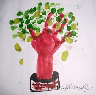 finger print art - mango tree