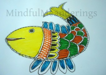 Painting a simple Madhubani Fish in 12 steps