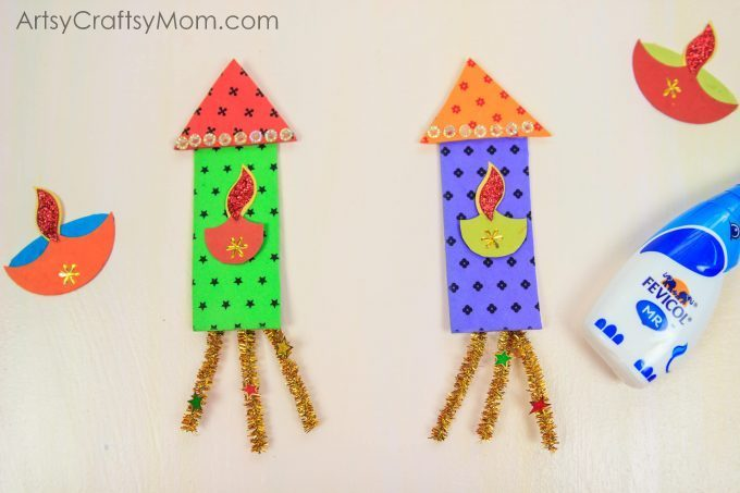 Firecracker themed diwali greeting card for kids artsy craftsy mom diwali greeting card for kids to make for family friends 3 cut the pipe cleaners into three 1 inch strips m4hsunfo