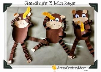 Gandhi Jayanti – Monkey craft with Free printable