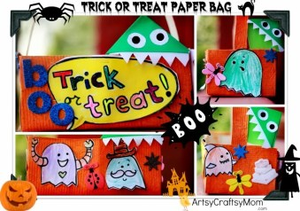 Halloween Crafts – Trick or Treat paper bag Monster bookmarks