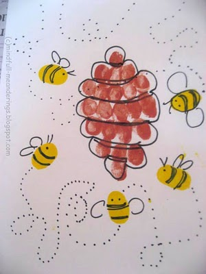 Thumbprint Honey Bee & Hive