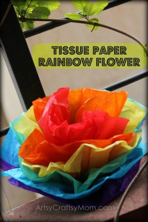 Tissue Paper Rainbow Flowers