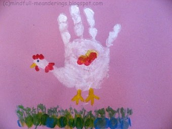 Handprint Chicken and caterpiller