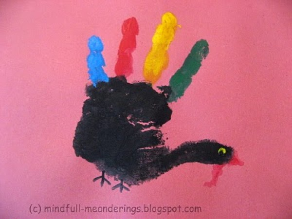 Handprint Turkey art for kids - Thanksgiving idea