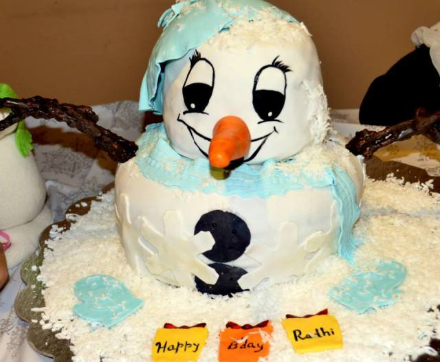 Snowman Theme Birthday Party Cake