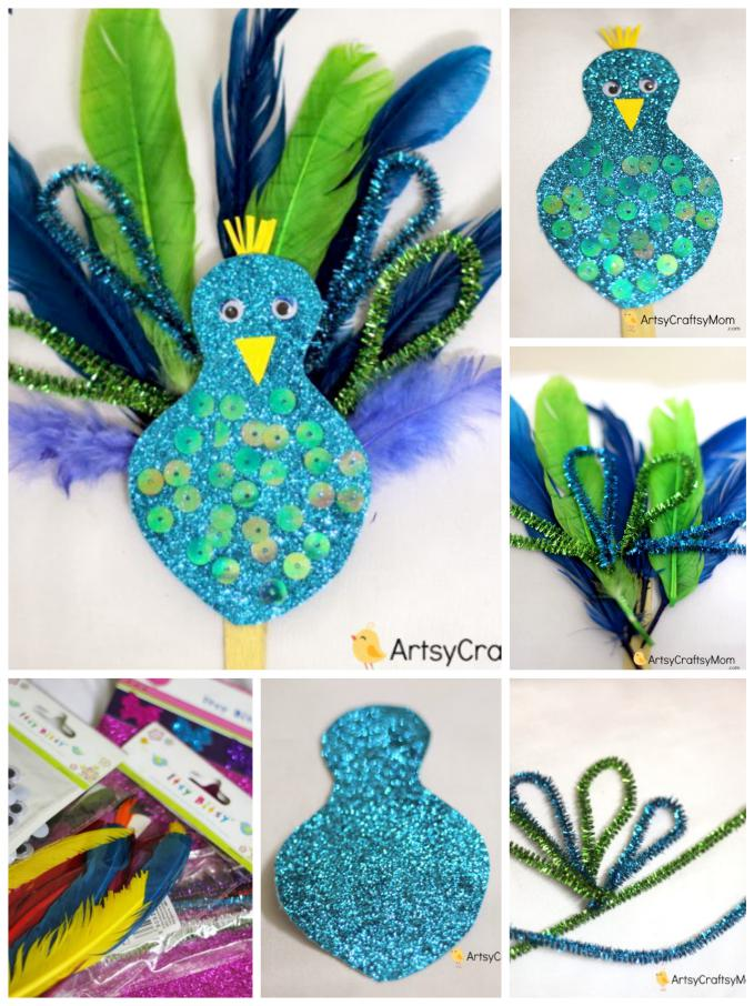 Peacock Craft Ideas For Kids Part - 15: Easy Peacock Craft For Kids Made Using Feathers, Pipe Cleaners U0026 Glitter  Paper. A