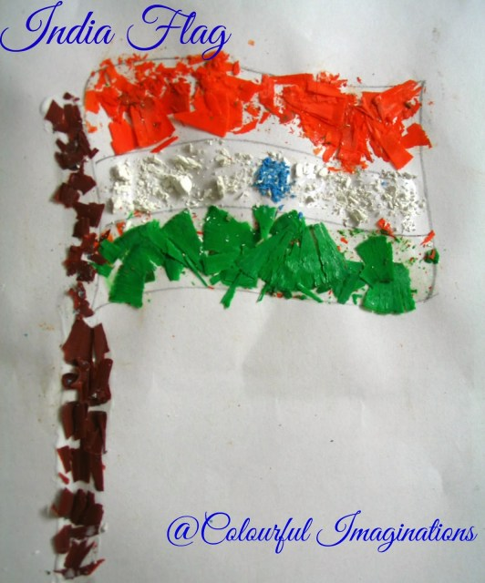 50 Ideas for India Independence Day or Independence Day party - crayon shaving flag
