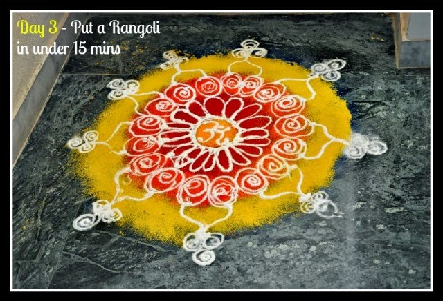 Draw a rangoli in 15 mins flat | via ArtsyCraftsyMom.com - Ganesh Chaturthi Crafts and Activities to do with Kids - Make a Clay Ganesha, decorate, Ganesha's throne & umbrella, rangoli ideas, recipes, books and more