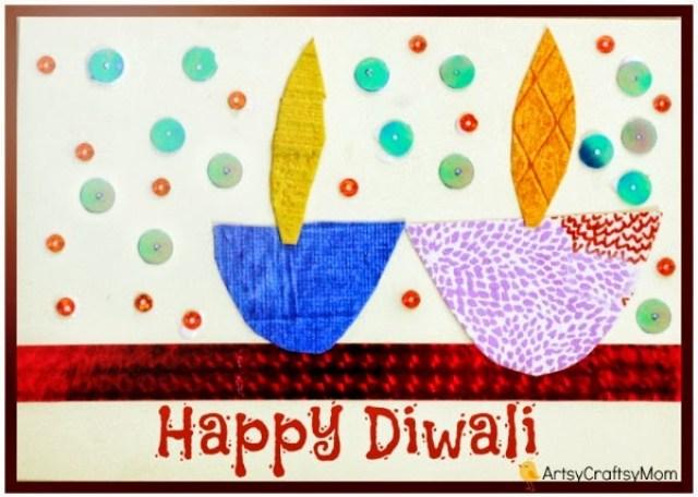DIY Diwali Card 1 | Diwali Handmade card for kids to make | India Crafts Glitter crafts foam DIY card Diwali Craft Classes Age5 7 Age3 5 Age2 3