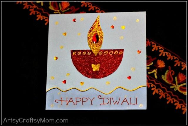 DIY Diwali Card | DIY Diwali Card idea for kids | India Crafts Glitter crafts DIY card Diwali Age7 10 Age5 7