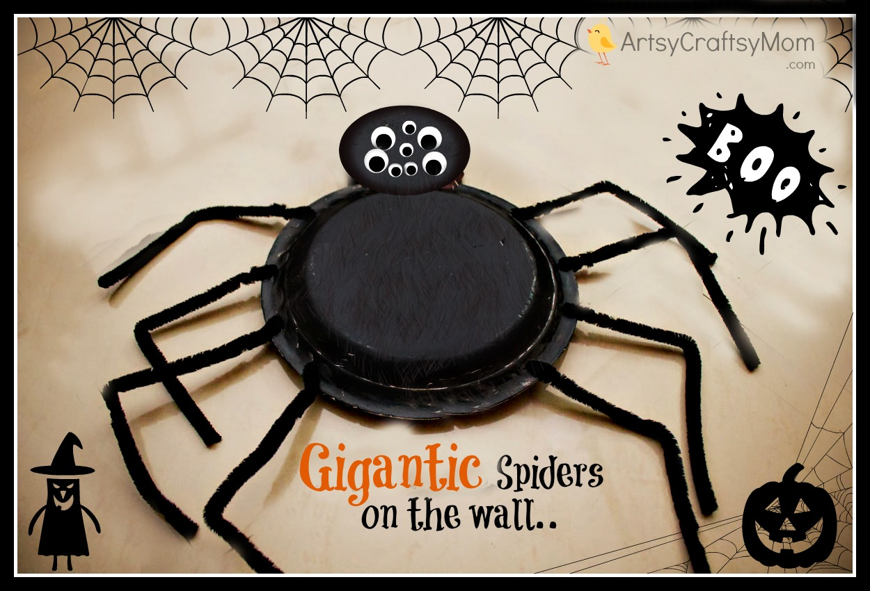 diy gigantic styrofoam plate spiders - halloween party decor - artsy