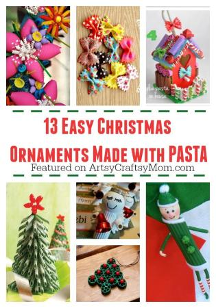 13 Easy Christmas Ornaments for Kids to make with pasta