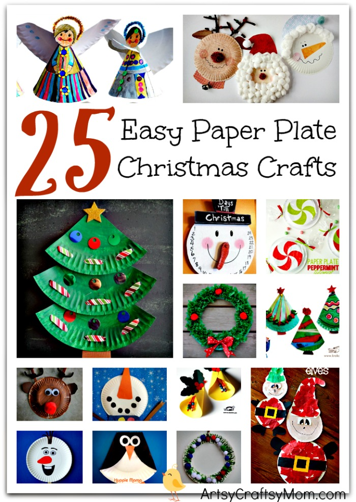 25 Easy Christmas Crafts Made from Paper Plates- Includes paper plate craft trees, bells, reindeer, Santa Claus, elves, Frozen Olaf , penguins & wreaths