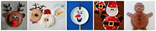 25 Easy Paper Plate Christmas Crafts for kids - Includes paper plate craft trees, bells, reindeer, Santa Claus, elves, Frozen Olaf , penguins & wreaths