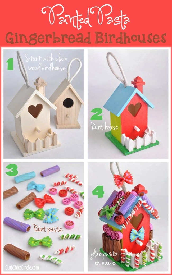 Christmas Ornament Craft Ideas For Kids Part - 46: How To Make A Painted Pasta Gingerbread House - 13 Easy Christmas Ornaments  For Kids To