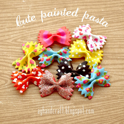 pasta bow ties - 13 Easy Christmas Ornaments for Kids to make with pasta - Pasta angels, pasta elf, pasta gingerbread house, fun and easy pasta ornament craft ideas.