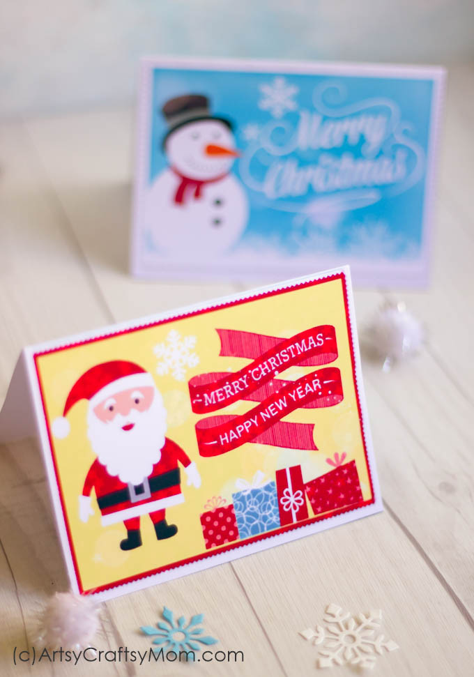 2 Free Printable Christmas Cards - Print at home - Artsy Craftsy Mom