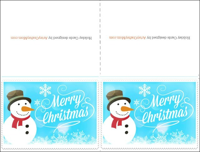 Free Printable Christmas card blue Snowman