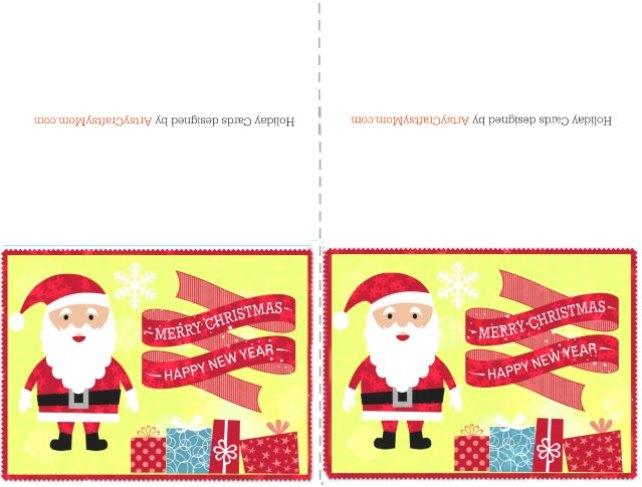 free printable christmas card santa - Merry Christmas Cards Printable
