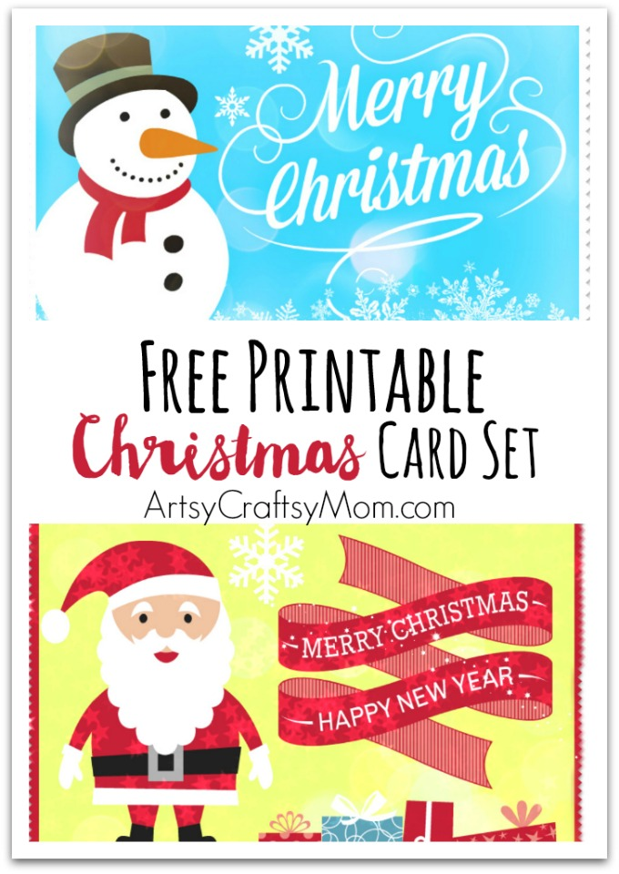 2 Free Printable Christmas Cards - Print at home - Artsy Craftsy Mom