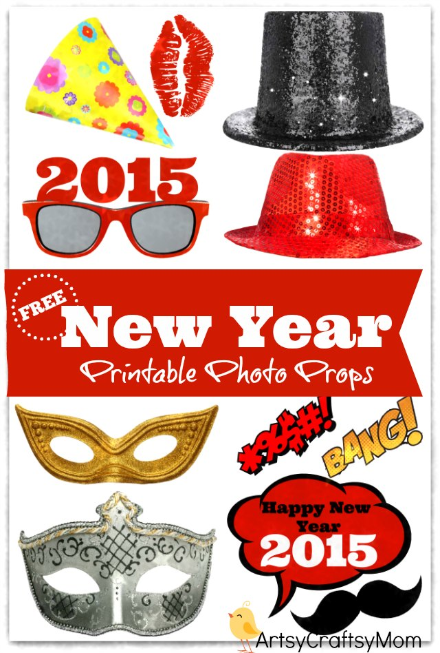 free printable photo props for new year